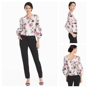 White House Black Market 3/4 Sleeve Poplin Blouse